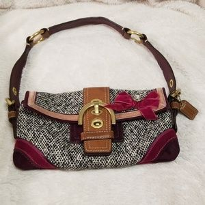 Coach tweed, leather and suede bag